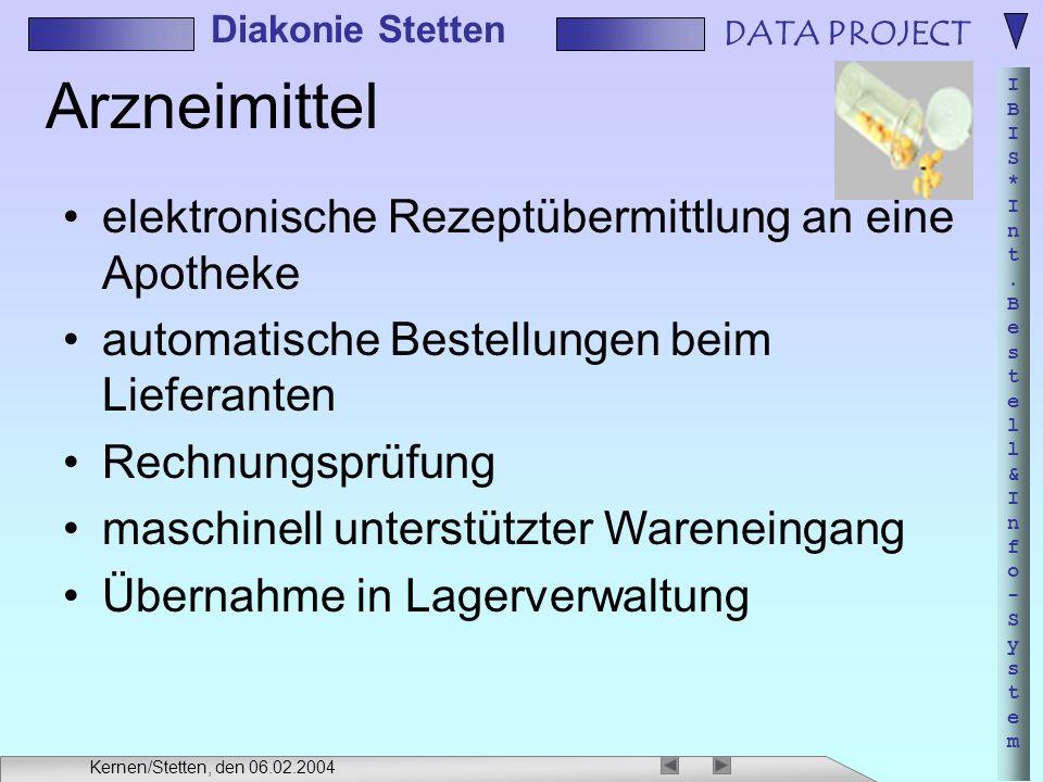 DATA PROJECT IBIS*Int.Bestell&Info-SystemIBIS*Int.Bestell&Info-System Diakonie Stetten Kernen/Stetten, den 06.02.2004 Arzneimittel elektronische Rezep
