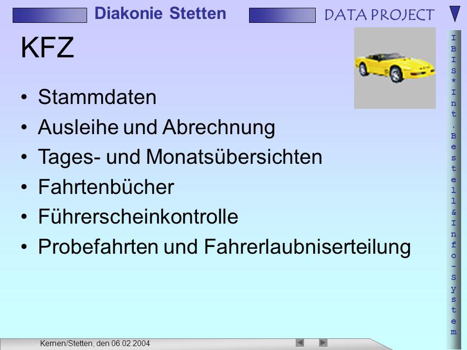 DATA PROJECT IBIS*Int.Bestell&Info-SystemIBIS*Int.Bestell&Info-System Diakonie Stetten Kernen/Stetten, den 06.02.2004 KFZ Stammdaten Ausleihe und Abre