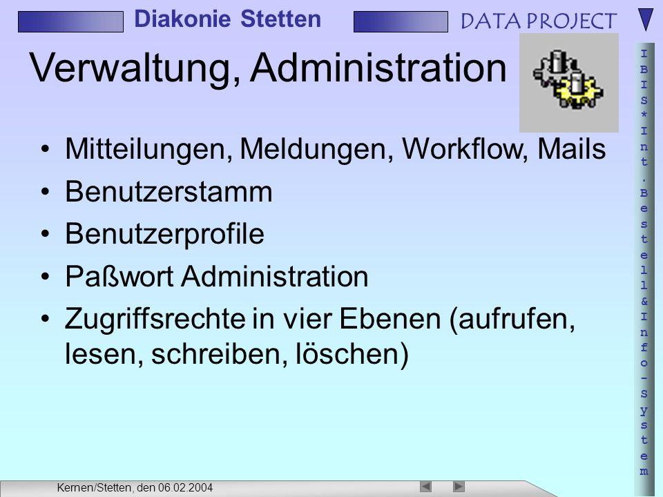 DATA PROJECT IBIS*Int.Bestell&Info-SystemIBIS*Int.Bestell&Info-System Diakonie Stetten Kernen/Stetten, den 06.02.2004 Verwaltung, Administration Mitte