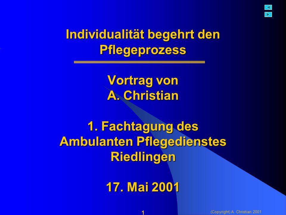 (Copyright) A. Christian 2001 1 Individualität begehrt den Pflegeprozess Vortrag von A.