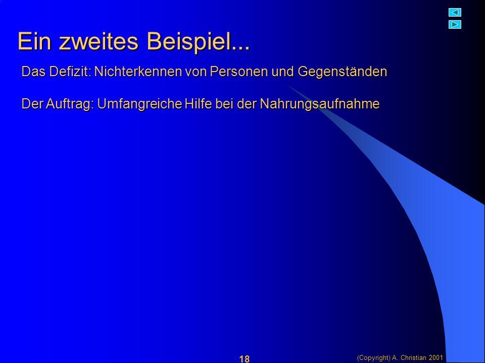 (Copyright) A. Christian 2001 18 Ein zweites Beispiel...