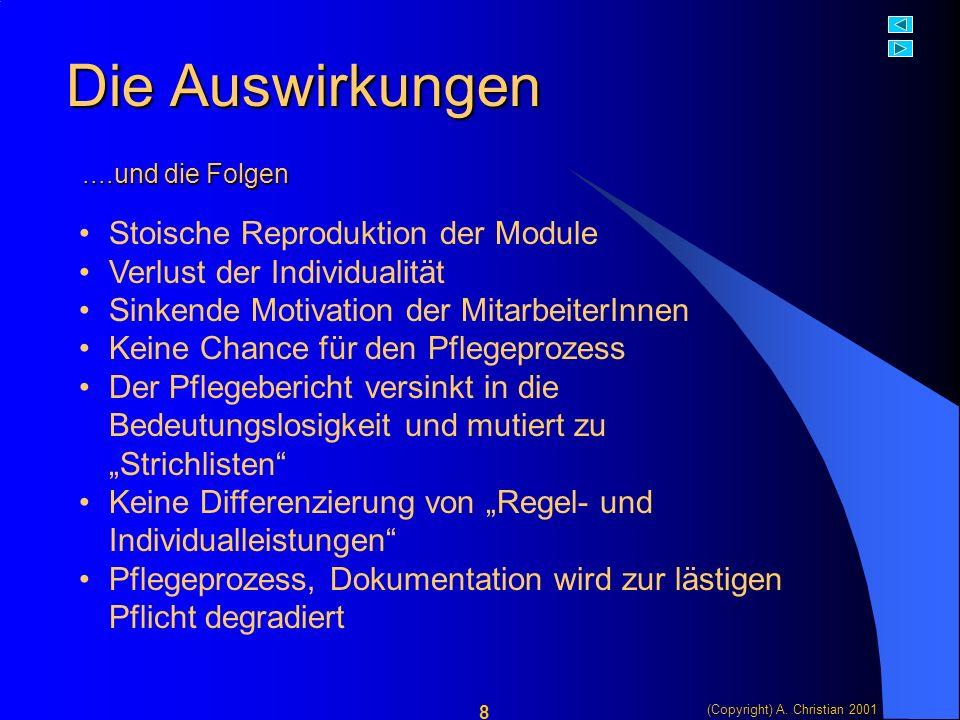 (Copyright) A. Christian 2001 9 Der Umkehrschluss Ein Beispiel