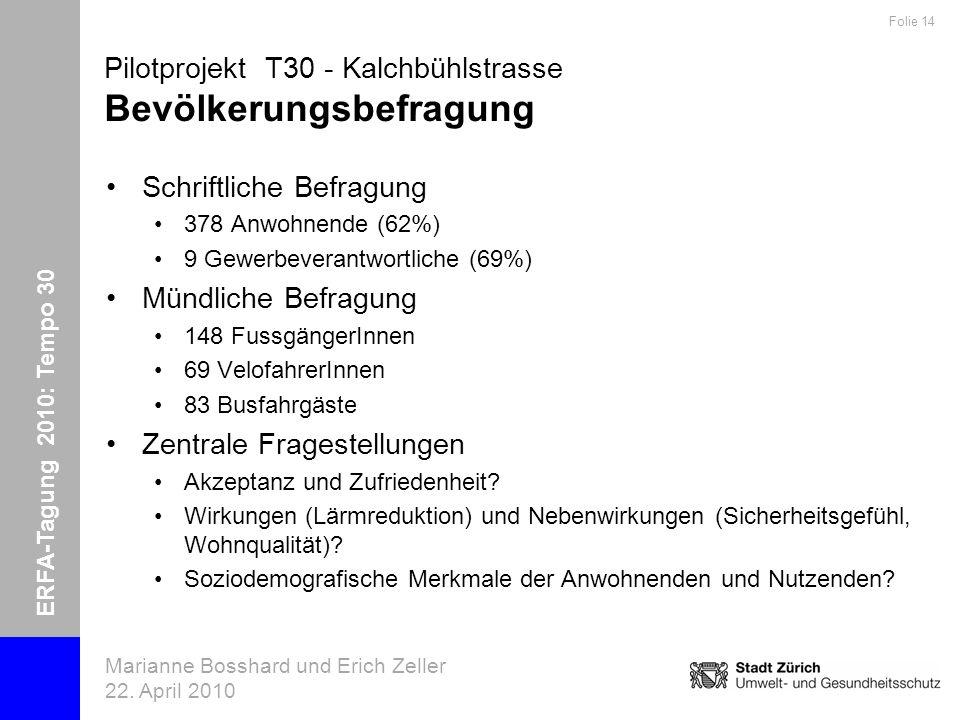 ERFA-Tagung 2010: Tempo 30 Marianne Bosshard und Erich Zeller 22. April 2010 Folie 14 Pilotprojekt T30 - Kalchbühlstrasse Bevölkerungsbefragung Schrif