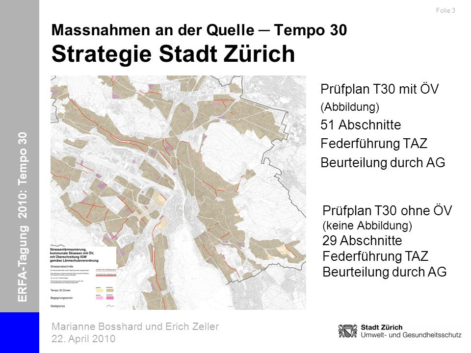 ERFA-Tagung 2010: Tempo 30 Marianne Bosshard und Erich Zeller 22. April 2010 Folie 3 Massnahmen an der Quelle Tempo 30 Strategie Stadt Zürich Prüfplan