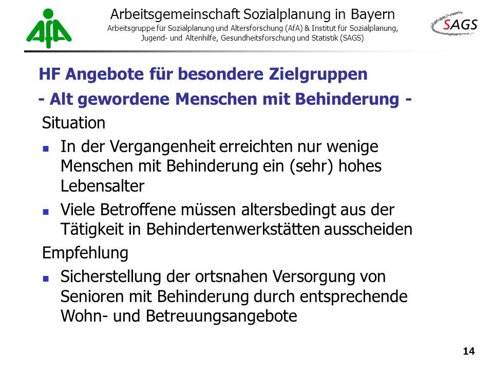 14 Arbeitsgemeinschaft Sozialplanung in Bayern Arbeitsgruppe für Sozialplanung und Altersforschung (AfA) & Institut für Sozialplanung, Jugend- und Alt