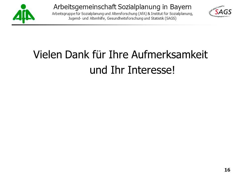 16 Arbeitsgemeinschaft Sozialplanung in Bayern Arbeitsgruppe für Sozialplanung und Altersforschung (AfA) & Institut für Sozialplanung, Jugend- und Alt