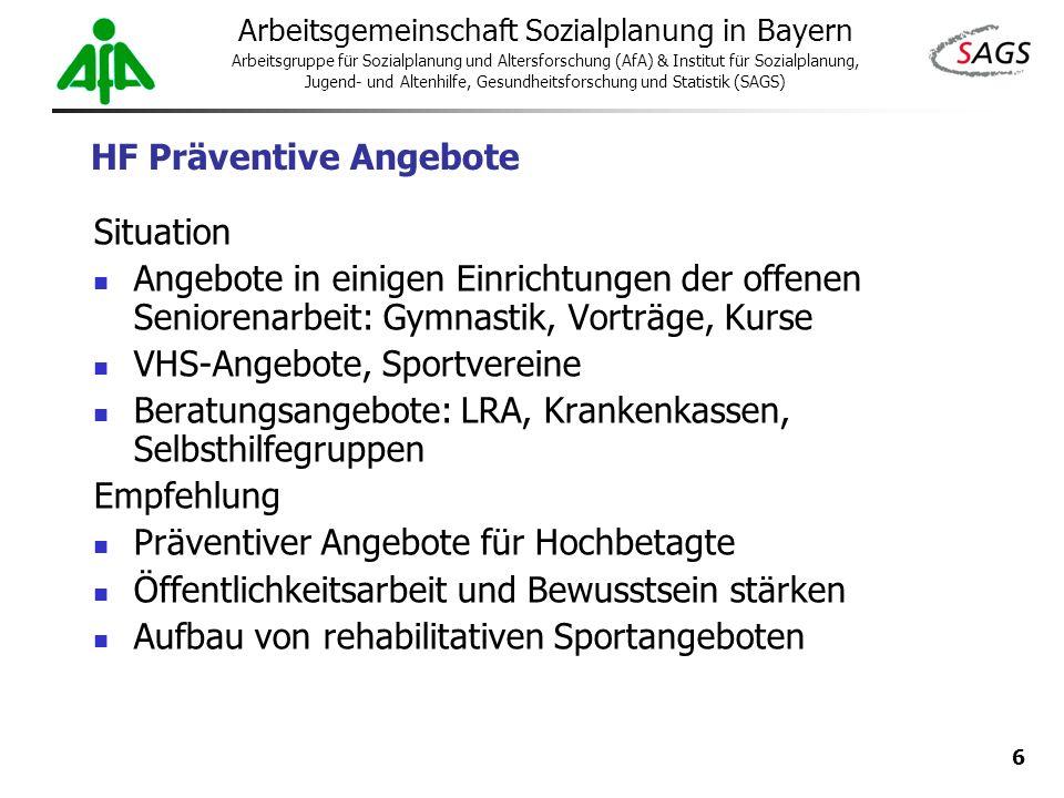 6 Arbeitsgemeinschaft Sozialplanung in Bayern Arbeitsgruppe für Sozialplanung und Altersforschung (AfA) & Institut für Sozialplanung, Jugend- und Alte