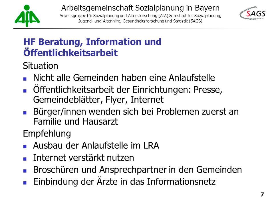 7 Arbeitsgemeinschaft Sozialplanung in Bayern Arbeitsgruppe für Sozialplanung und Altersforschung (AfA) & Institut für Sozialplanung, Jugend- und Alte