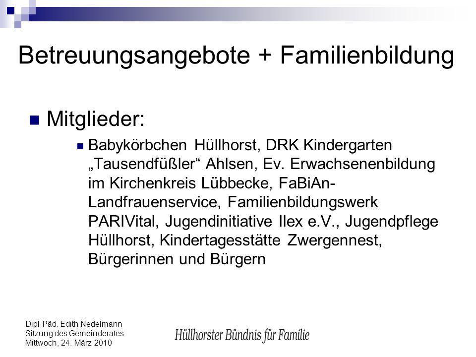 Dipl-Päd. Edith Nedelmann Sitzung des Gemeinderates Mittwoch, 24. März 2010 Betreuungsangebote + Familienbildung Mitglieder: Babykörbchen Hüllhorst, D