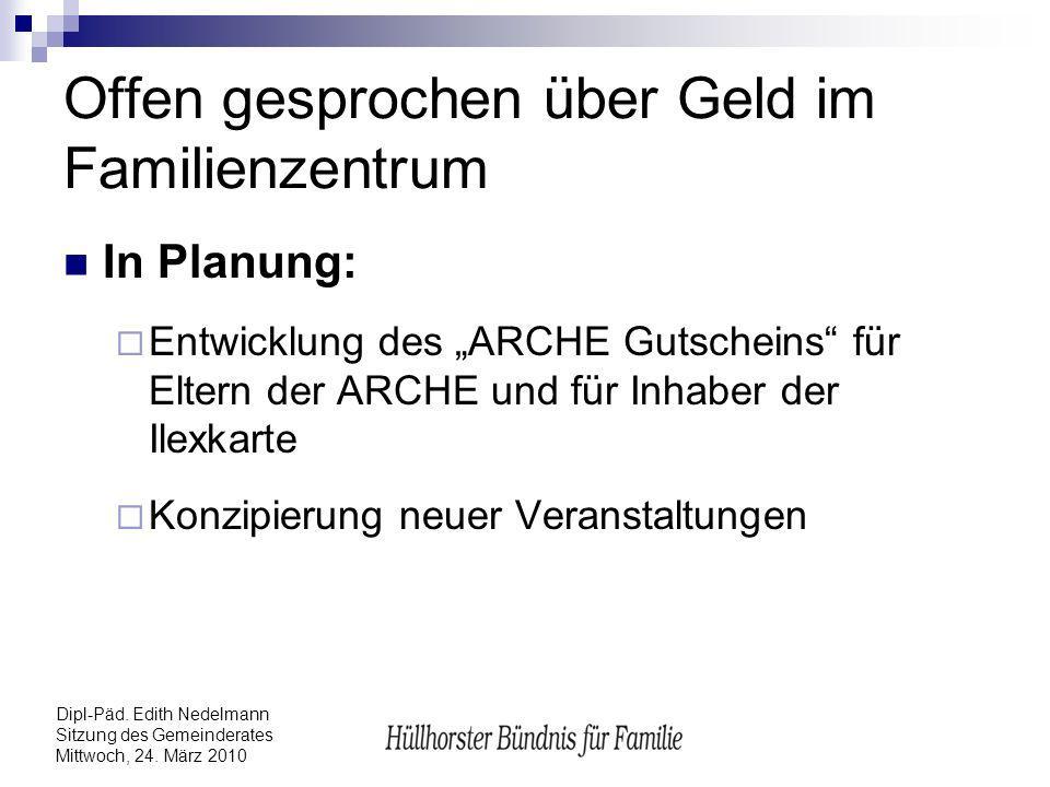 Dipl-Päd. Edith Nedelmann Sitzung des Gemeinderates Mittwoch, 24. März 2010 Offen gesprochen über Geld im Familienzentrum In Planung: Entwicklung des
