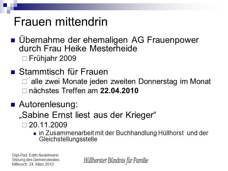 Dipl-Päd. Edith Nedelmann Sitzung des Gemeinderates Mittwoch, 24. März 2010 Frauen mittendrin Übernahme der ehemaligen AG Frauenpower durch Frau Heike