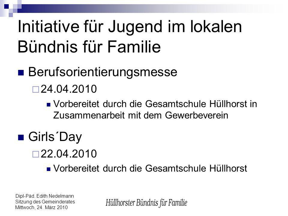 Dipl-Päd. Edith Nedelmann Sitzung des Gemeinderates Mittwoch, 24. März 2010 Initiative für Jugend im lokalen Bündnis für Familie Berufsorientierungsme
