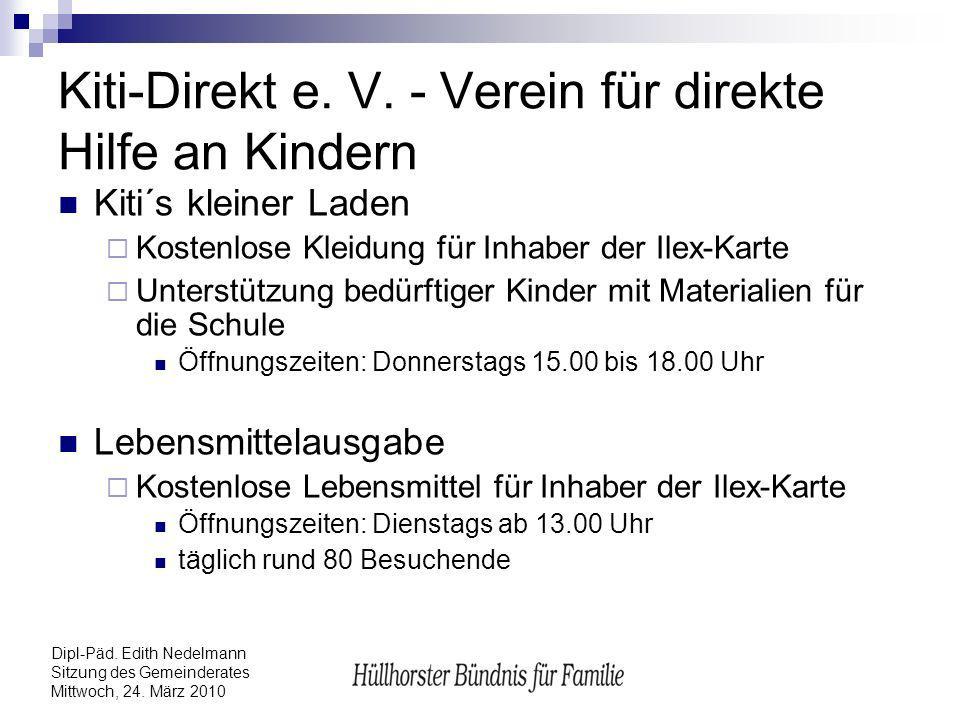 Dipl-Päd. Edith Nedelmann Sitzung des Gemeinderates Mittwoch, 24. März 2010 Kiti-Direkt e. V. - Verein für direkte Hilfe an Kindern Kiti´s kleiner Lad