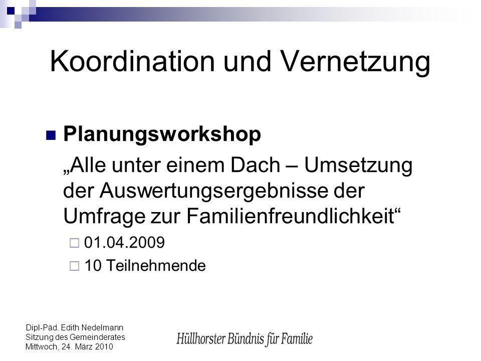 Dipl-Päd. Edith Nedelmann Sitzung des Gemeinderates Mittwoch, 24. März 2010 Koordination und Vernetzung Planungsworkshop Alle unter einem Dach – Umset