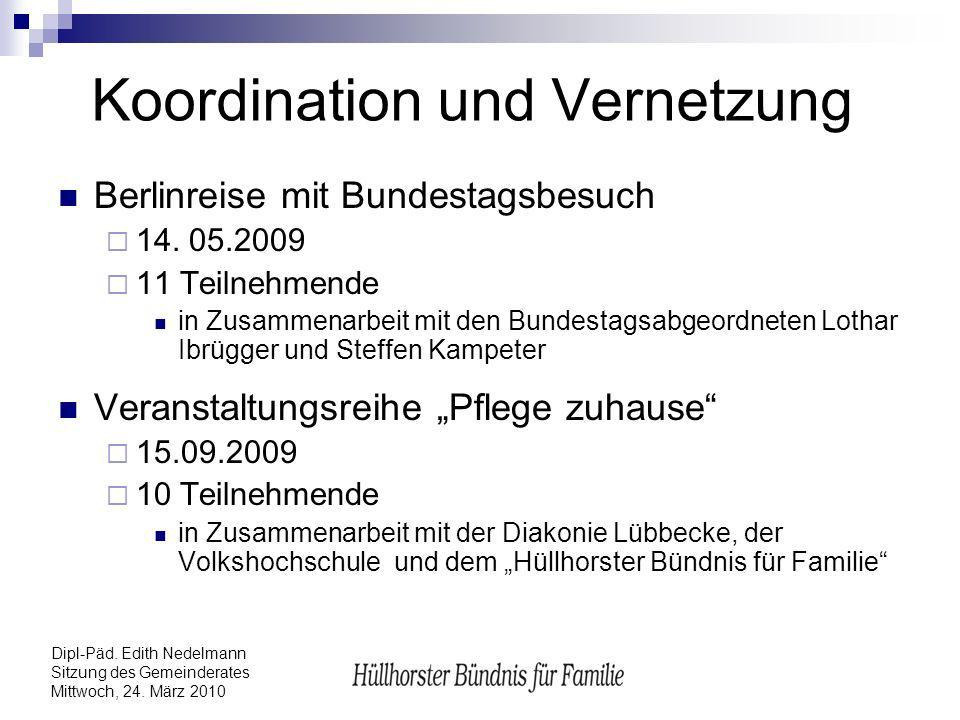 Dipl-Päd. Edith Nedelmann Sitzung des Gemeinderates Mittwoch, 24. März 2010 Koordination und Vernetzung Berlinreise mit Bundestagsbesuch 14. 05.2009 1