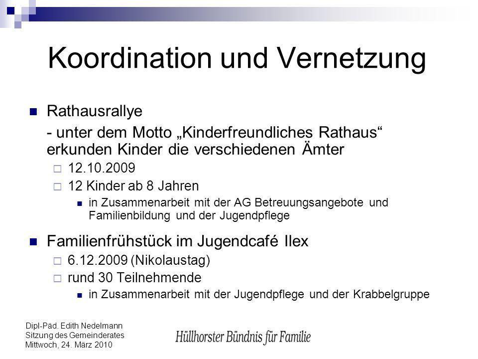 Dipl-Päd. Edith Nedelmann Sitzung des Gemeinderates Mittwoch, 24. März 2010 Koordination und Vernetzung Rathausrallye - unter dem Motto Kinderfreundli