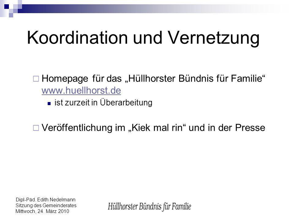 Dipl-Päd. Edith Nedelmann Sitzung des Gemeinderates Mittwoch, 24. März 2010 Koordination und Vernetzung Homepage für das Hüllhorster Bündnis für Famil