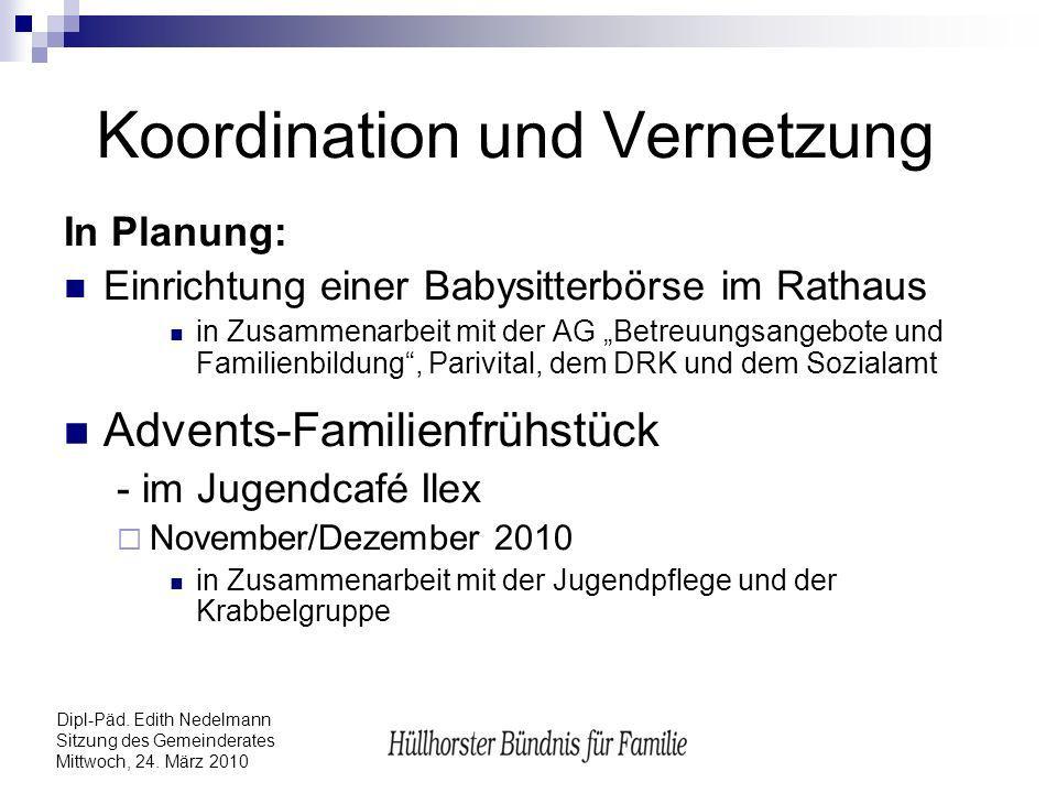 Dipl-Päd. Edith Nedelmann Sitzung des Gemeinderates Mittwoch, 24. März 2010 Koordination und Vernetzung In Planung: Einrichtung einer Babysitterbörse