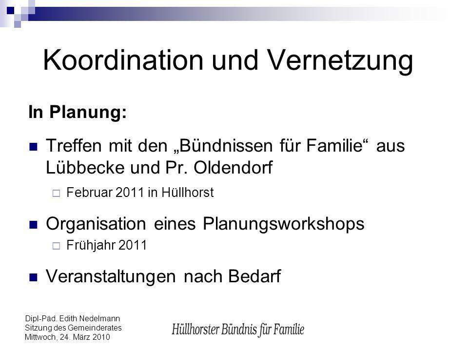 Dipl-Päd. Edith Nedelmann Sitzung des Gemeinderates Mittwoch, 24. März 2010 Koordination und Vernetzung In Planung: Treffen mit den Bündnissen für Fam