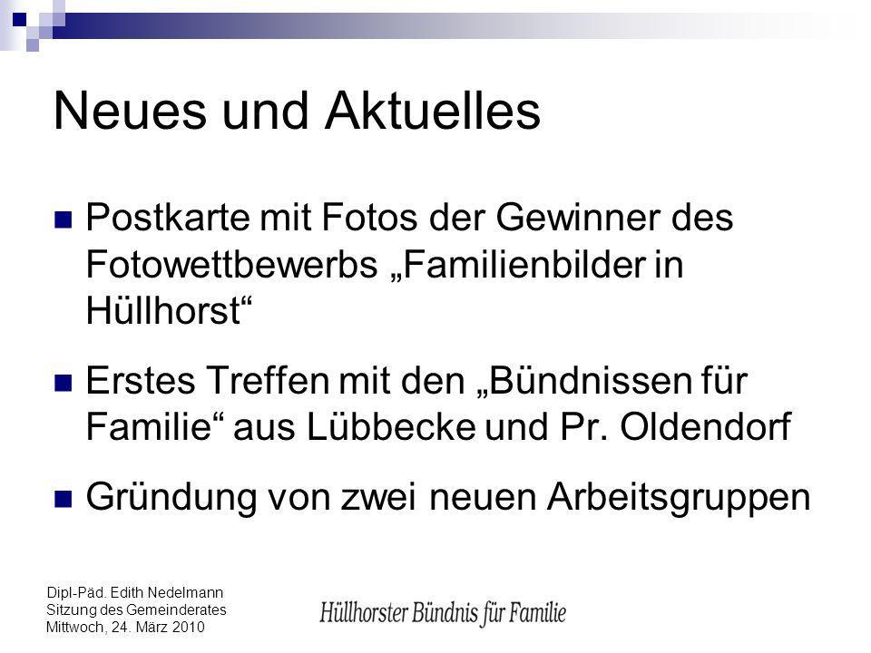 Dipl-Päd. Edith Nedelmann Sitzung des Gemeinderates Mittwoch, 24. März 2010 Neues und Aktuelles Postkarte mit Fotos der Gewinner des Fotowettbewerbs F