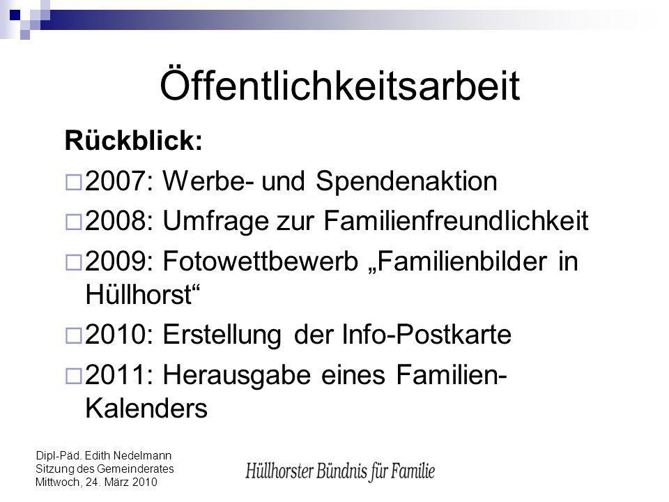 Dipl-Päd. Edith Nedelmann Sitzung des Gemeinderates Mittwoch, 24. März 2010 Öffentlichkeitsarbeit Rückblick: 2007: Werbe- und Spendenaktion 2008: Umfr