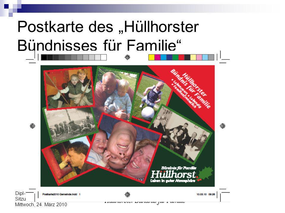 Dipl-Päd. Edith Nedelmann Sitzung des Gemeinderates Mittwoch, 24. März 2010 Postkarte des Hüllhorster Bündnisses für Familie