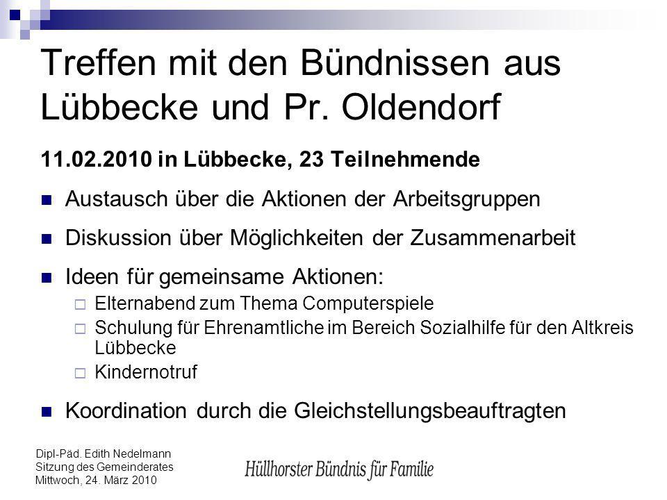 Dipl-Päd. Edith Nedelmann Sitzung des Gemeinderates Mittwoch, 24. März 2010 Treffen mit den Bündnissen aus Lübbecke und Pr. Oldendorf 11.02.2010 in Lü