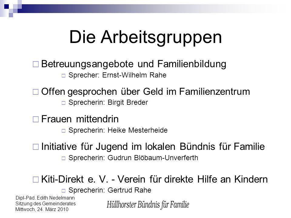 Dipl-Päd. Edith Nedelmann Sitzung des Gemeinderates Mittwoch, 24. März 2010 Die Arbeitsgruppen Betreuungsangebote und Familienbildung Sprecher: Ernst-