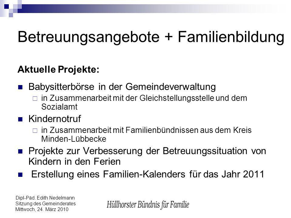 Dipl-Päd. Edith Nedelmann Sitzung des Gemeinderates Mittwoch, 24. März 2010 Betreuungsangebote + Familienbildung Aktuelle Projekte: Babysitterbörse in