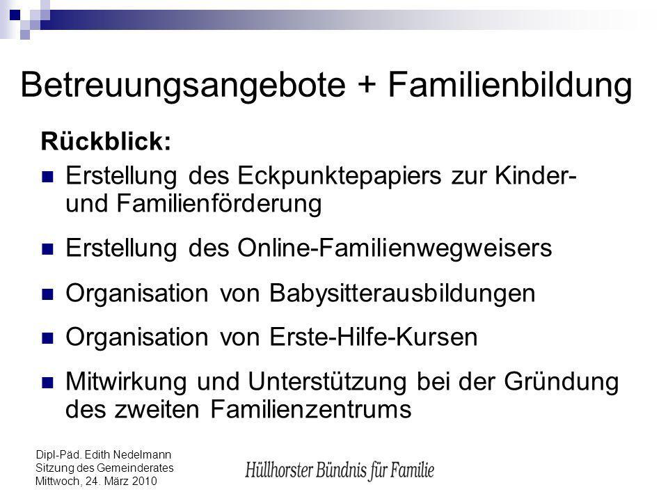 Dipl-Päd. Edith Nedelmann Sitzung des Gemeinderates Mittwoch, 24. März 2010 Betreuungsangebote + Familienbildung Rückblick: Erstellung des Eckpunktepa