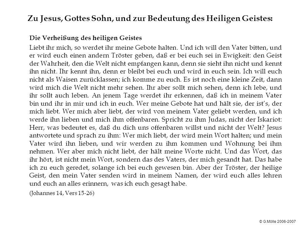 Zu Jesus, Gottes Sohn, und zur Bedeutung des Heiligen Geistes: Das Werk des heiligen Geistes Jetzt aber gehe ich hin zu dem, der mich gesandt hat; und niemand von euch fragt mich: Wo gehst du hin.