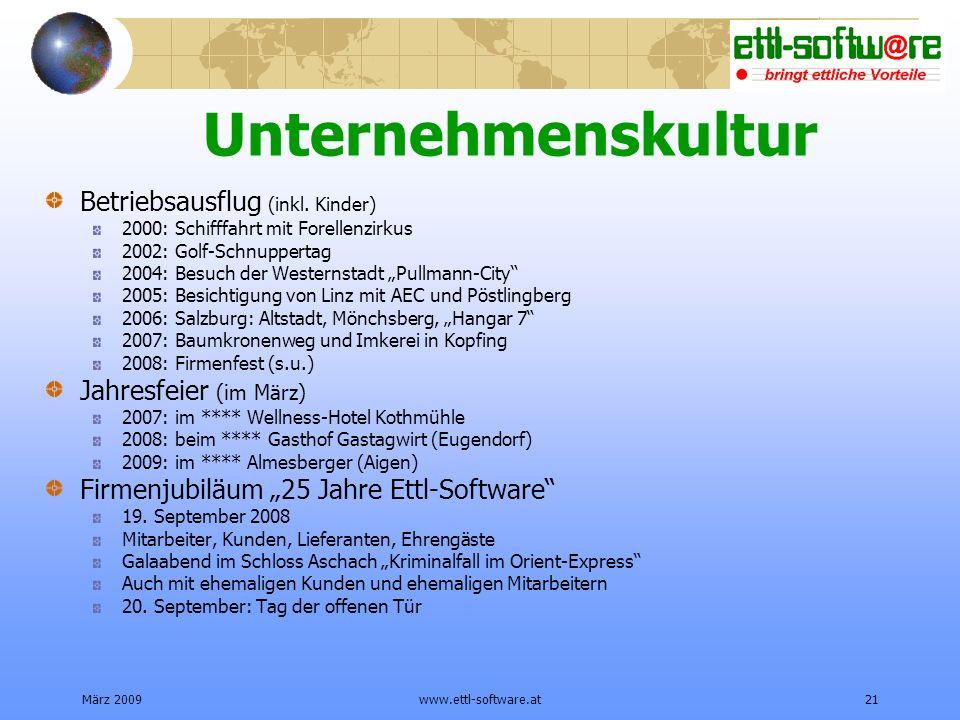 März 2009www.ettl-software.at21 Unternehmenskultur Betriebsausflug (inkl.