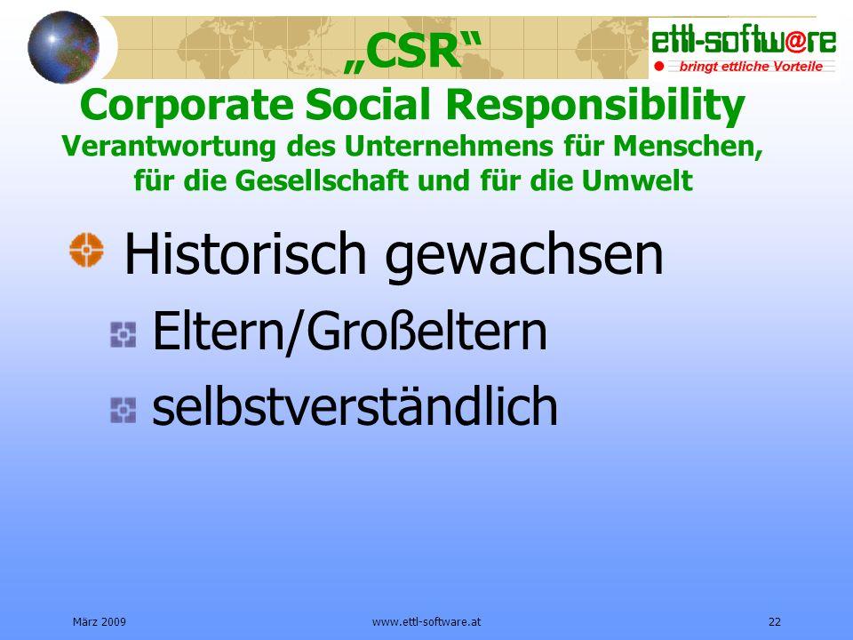 März 2009www.ettl-software.at22 CSR Corporate Social Responsibility Verantwortung des Unternehmens für Menschen, für die Gesellschaft und für die Umwelt Historisch gewachsen Eltern/Großeltern selbstverständlich