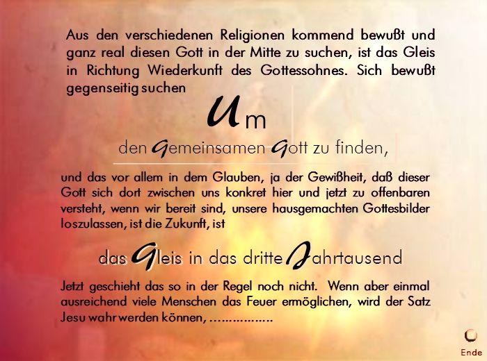 Gleis ins 3.Jahrtausend und das vor allem in dem Glauben, ja der Gewißheit, daß dieser Gott sich dort zwischen uns konkret hier und jetzt zu offenbare