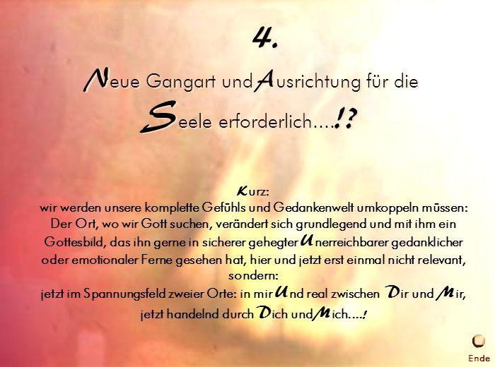 4. Gangart der Seele N eue Gangart und A usrichtung für die S eele erforderlich.... !? 4. K urz: wir werden unsere komplette Gefühls und Gedankenwelt