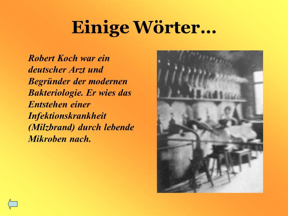 Einige Wörter… Robert Koch war ein deutscher Arzt und Begründer der modernen Bakteriologie.