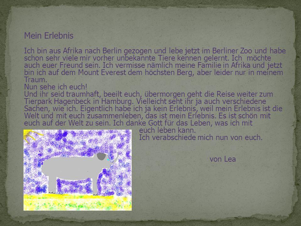 Mein Erlebnis Ich bin aus Afrika nach Berlin gezogen und lebe jetzt im Berliner Zoo und habe schon sehr viele mir vorher unbekannte Tiere kennen geler