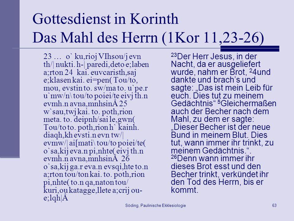Söding, Paulinische Ekklesiologie64 Das Letzte Abendmahl - Synopse 1Kor 11,23ff.
