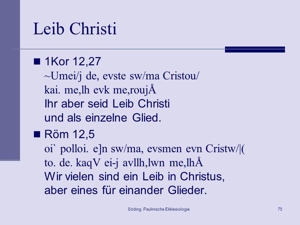 Söding, Paulinische Ekklesiologie76 Der Aufbau der Kirche 1Kor 14,22-25 22 Glossolalie ist ein Zeichen nicht den Gläubigen, sondern den Ungläubigem, Prophetie aber nicht den Ungläubigen, sondern den Gläubigen.