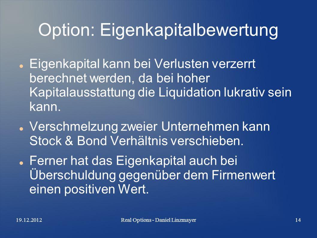 19.12.2012Real Options - Daniel Linzmayer14 Option: Eigenkapitalbewertung Eigenkapital kann bei Verlusten verzerrt berechnet werden, da bei hoher Kapitalausstattung die Liquidation lukrativ sein kann.