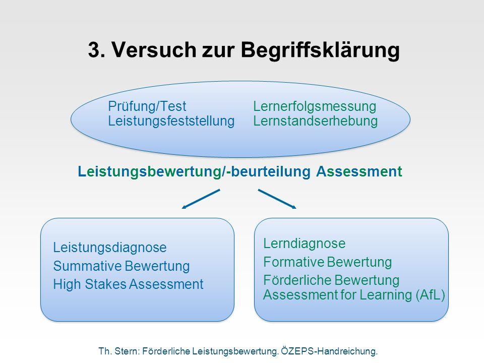3. Versuch zur Begriffsklärung Prüfung/TestLernerfolgsmessung LeistungsfeststellungLernstandserhebung Leistungsdiagnose Summative Bewertung High Stake