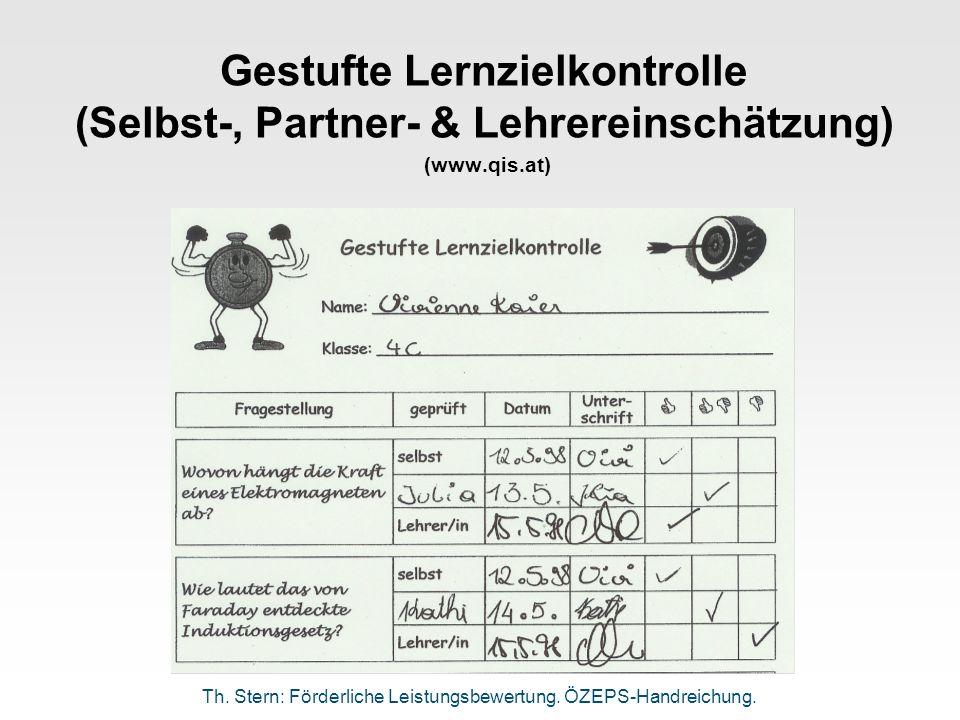 Gestufte Lernzielkontrolle (Selbst-, Partner- & Lehrereinschätzung) (www.qis.at) Th. Stern: Förderliche Leistungsbewertung. ÖZEPS-Handreichung.