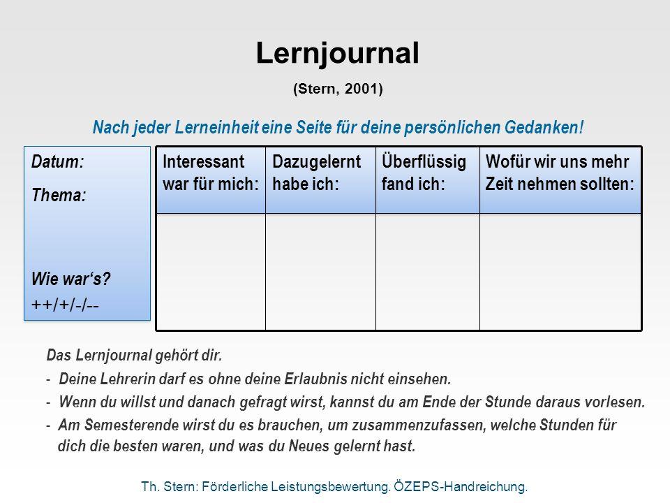 Lernjournal (Stern, 2001) Wofür wir uns mehr Zeit nehmen sollten: Überflüssig fand ich: Dazugelernt habe ich: Interessant war für mich: Nach jeder Ler