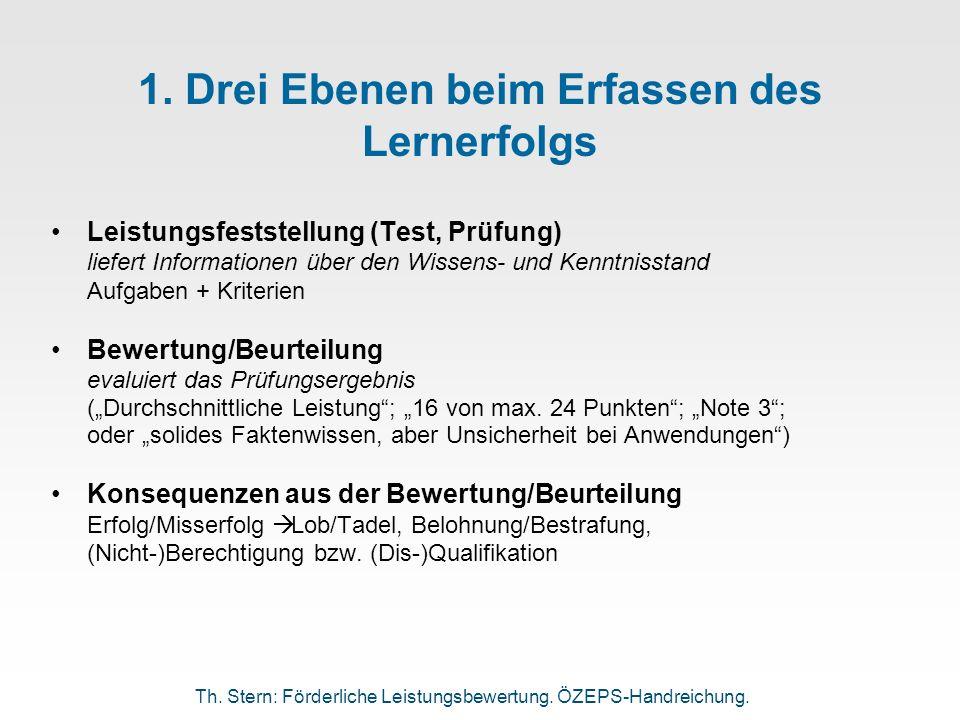 1. Drei Ebenen beim Erfassen des Lernerfolgs Leistungsfeststellung (Test, Prüfung) liefert Informationen über den Wissens- und Kenntnisstand Aufgaben