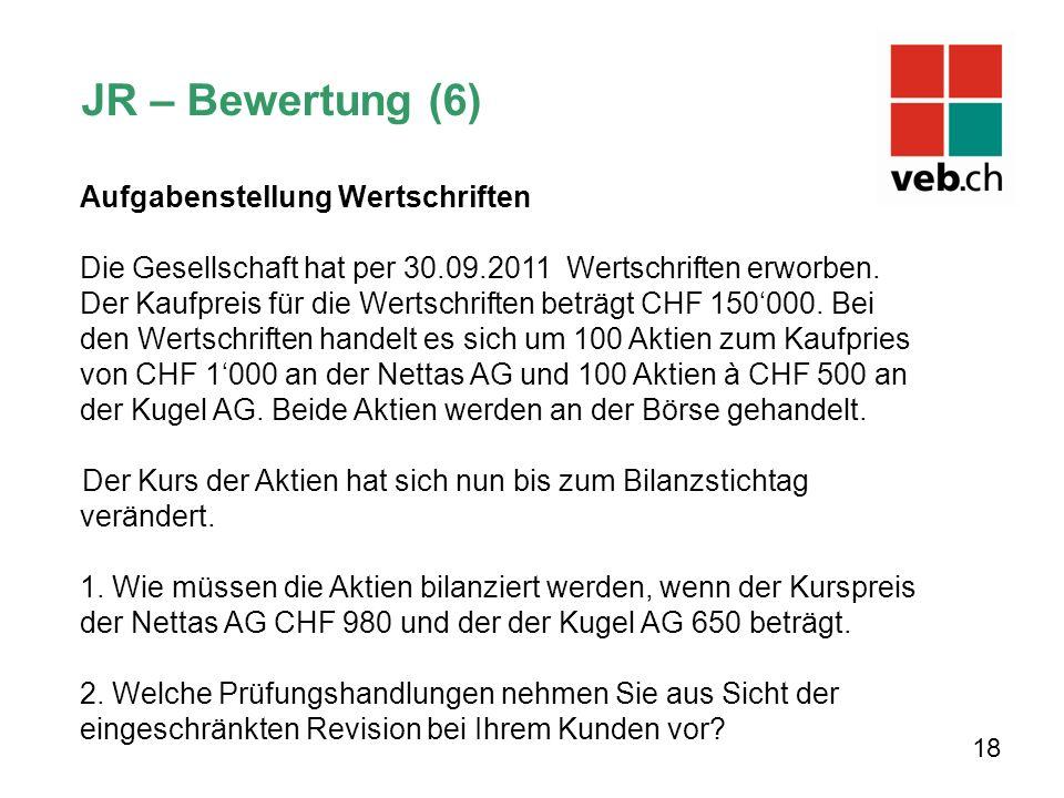 Aufgabenstellung Wertschriften Die Gesellschaft hat per 30.09.2011 Wertschriften erworben. Der Kaufpreis für die Wertschriften beträgt CHF 150000. Bei