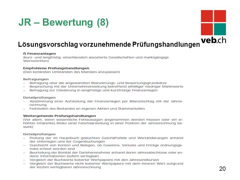 Lösungsvorschlag vorzunehmende Prüfungshandlungen 20 JR – Bewertung (8)