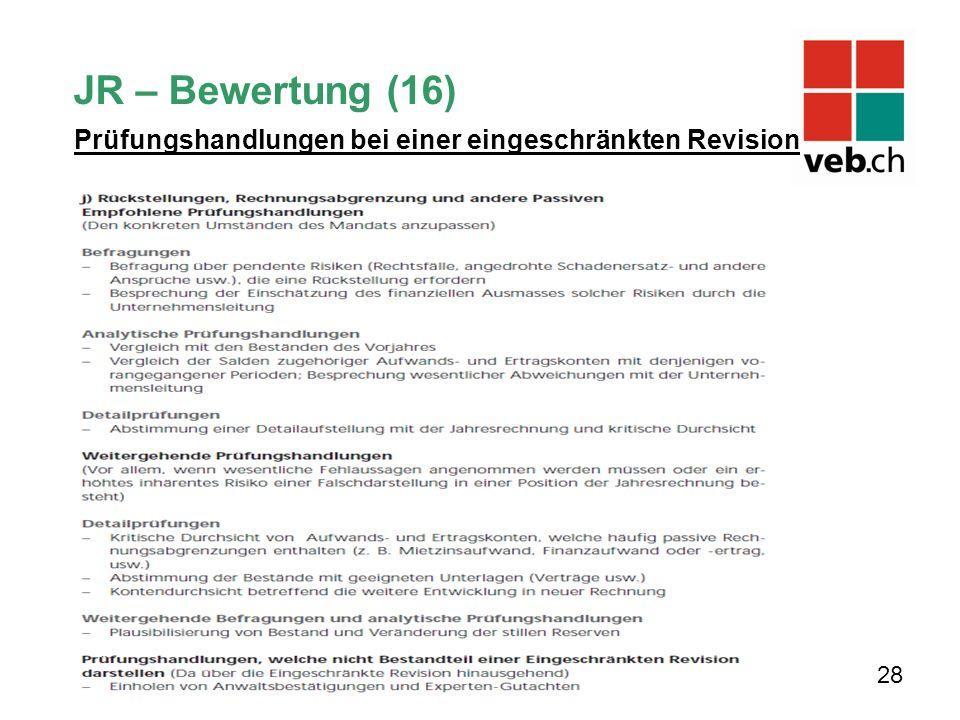 28 JR – Bewertung (16) Prüfungshandlungen bei einer eingeschränkten Revision