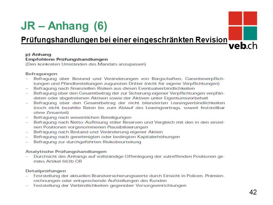 JR – Anhang (6) 42 Prüfungshandlungen bei einer eingeschränkten Revision