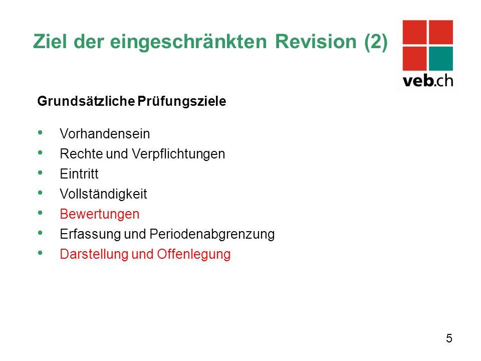 Ziel der eingeschränkten Revision (2) 5 Grundsätzliche Prüfungsziele Vorhandensein Rechte und Verpflichtungen Eintritt Vollständigkeit Bewertungen Erf
