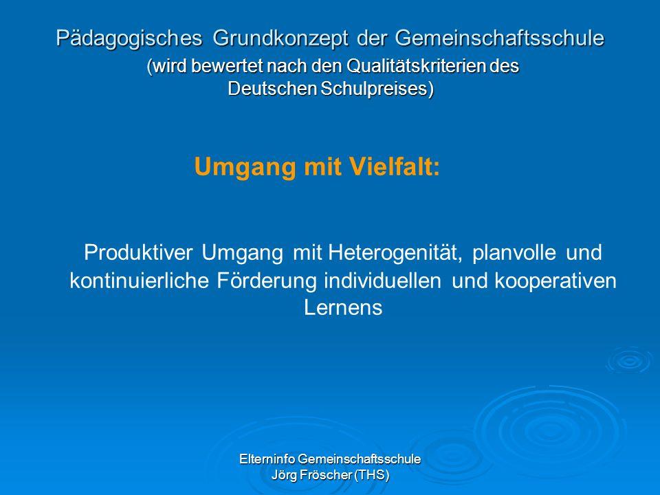 Elterninfo Gemeinschaftsschule Jörg Fröscher (THS) Pädagogisches Grundkonzept der Gemeinschaftsschule (wird bewertet nach den Qualitätskriterien des Deutschen Schulpreises) Umgang mit Vielfalt: Produktiver Umgang mit Heterogenität, planvolle und kontinuierliche Förderung individuellen und kooperativen Lernens